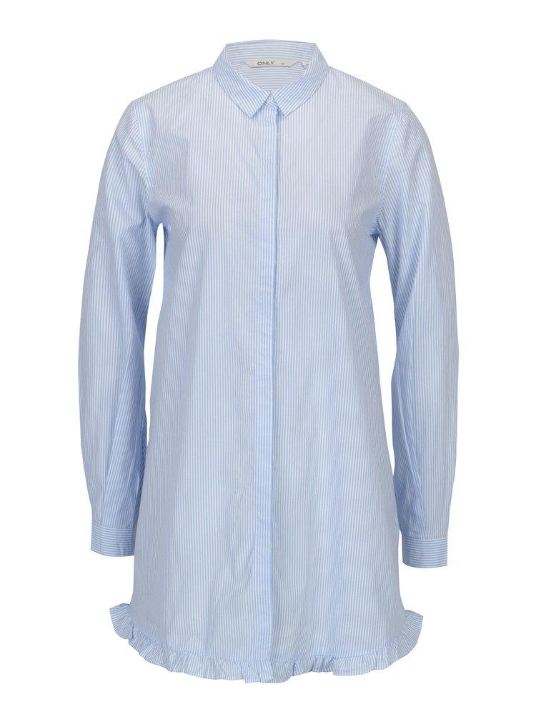 Bílo-modrá dlouhá pruhovaná áčková košile ONLY Monique