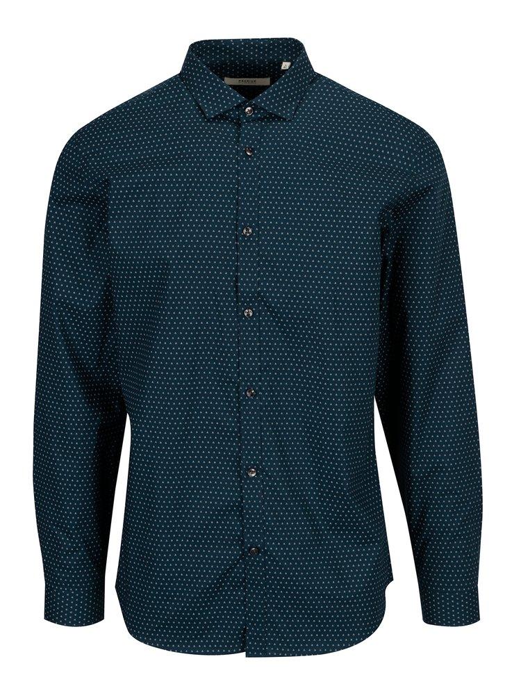 Tmavě modrá vzorovaná slim fit košile Jack & Jones Premium Samson