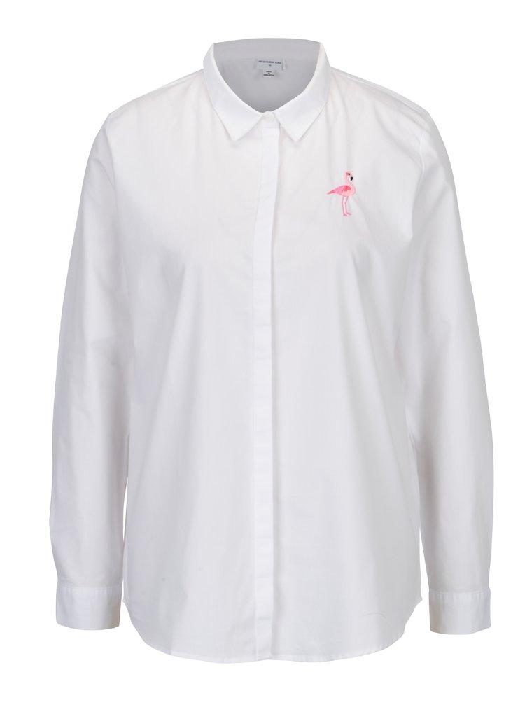 Bílá košile s výšivkou plameňáka Jacqueline de Yong Shanice