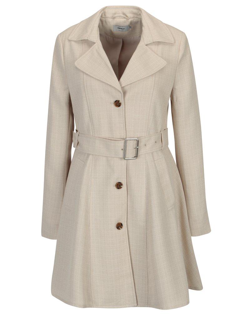 Béžový žíhaný kabát s páskem ONLY Hallo