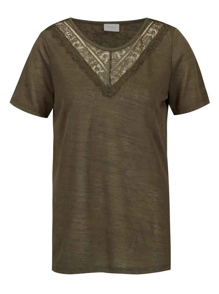 Khaki průsvitné tričko VILA Sumi