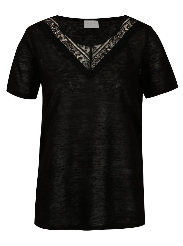 Tricou negru cu insertie din dantela VILA Sumi