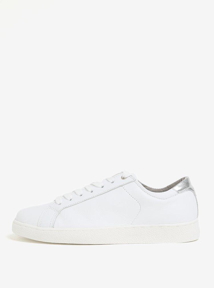 Bílé kožené tenisky s detailem ve stříbrné barvě Tamaris
