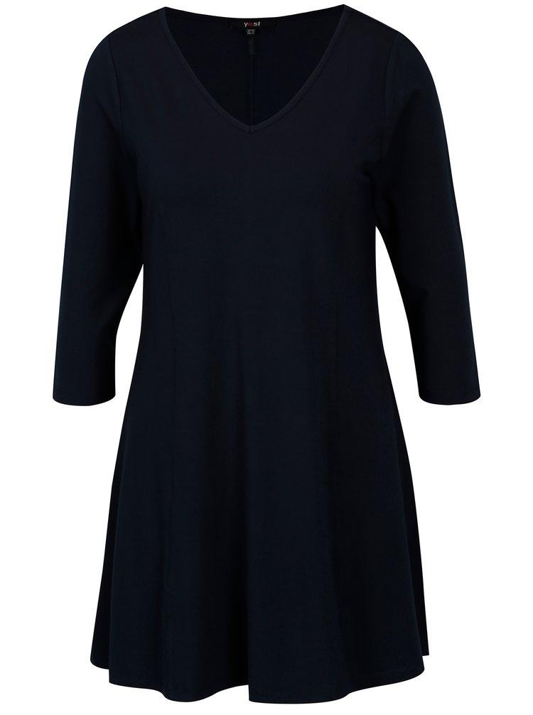 Tmavě modré šaty s véčkovým výstřihem Yest