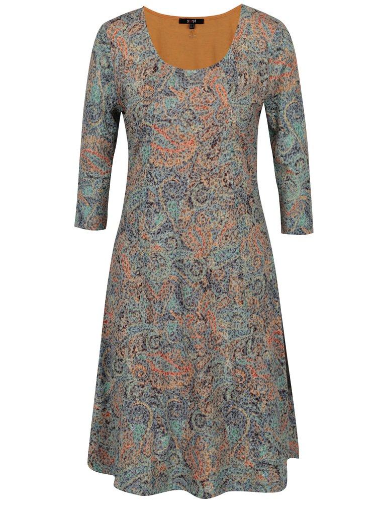 Modro-oranžové vzorované šaty s 3/4 rukávem Yest