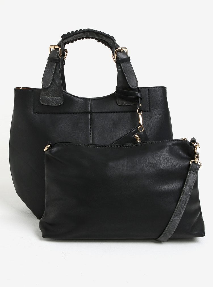 Čierna veľká kabelka s crossbody kabelkou 2v1 Bessie London