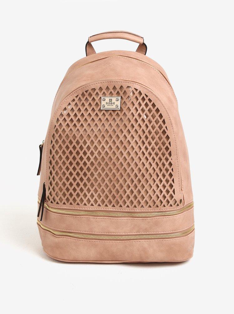 Růžový koženkový batoh Bessie London