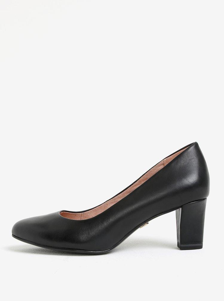 Pantofi negri din piele naturala cu toc Tamaris