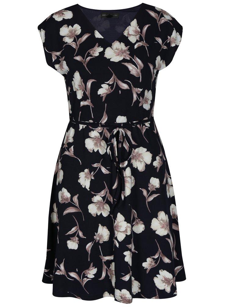 Tmavě modré áčkové květované šaty Mela London