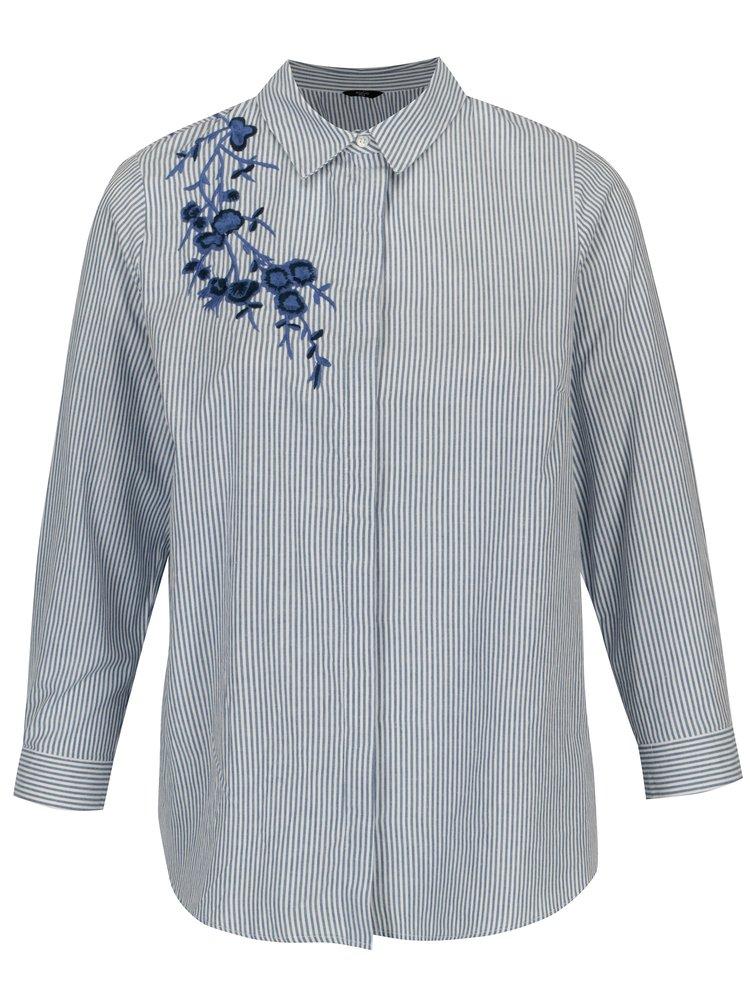 Bílo-modrá pruhovaná košile s výšivkou M&Co