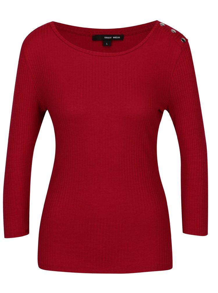 Červené žebrované tričko s patentkami na ramenou TALLY WEiJL