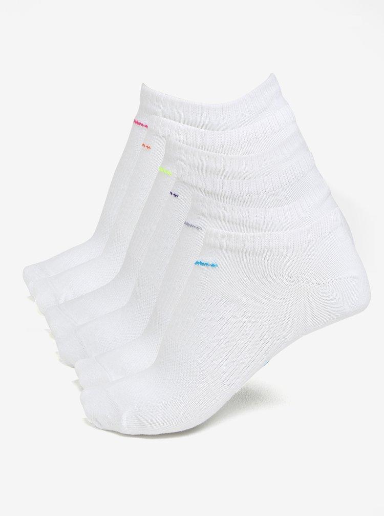 Sada šesti párů dámských ponožek v bílé barvě Nike
