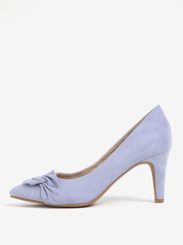 Pantofi lila cu toc mic si aspect de piele intoarsa s.Oliver