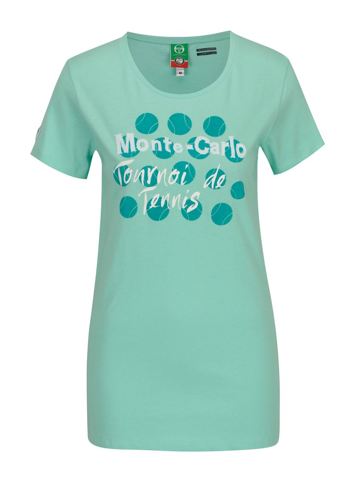 Tricou verde mentol cu print pentru femei - Sergio Tacchini Ondina