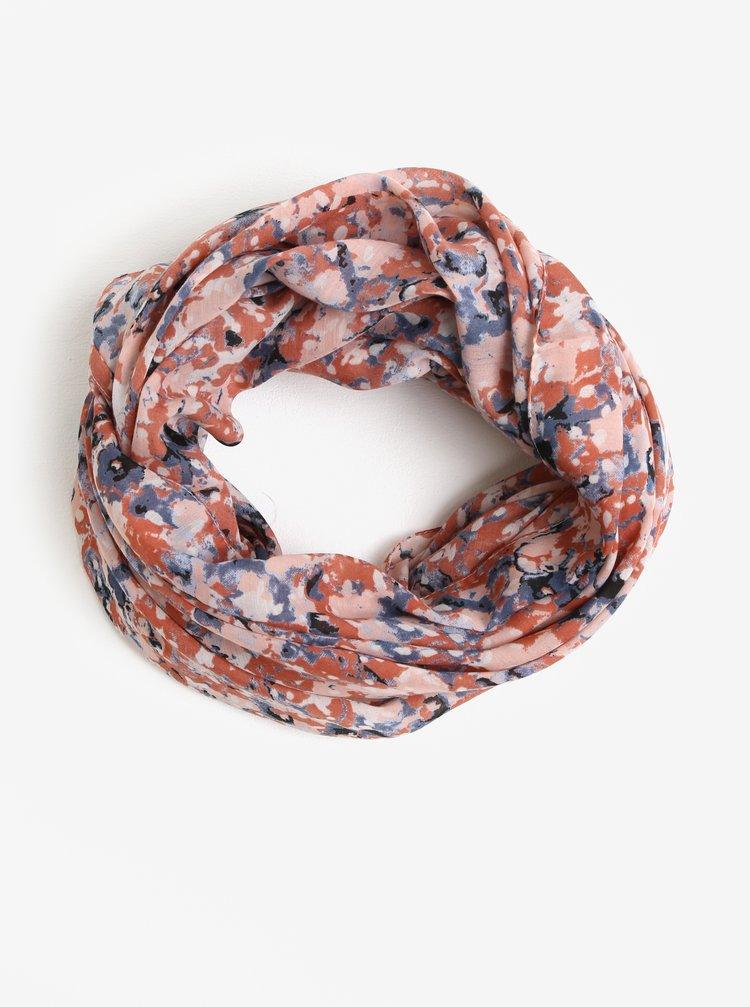 Modro-cihlový vzorovaný dutý šátek Pieces Minna