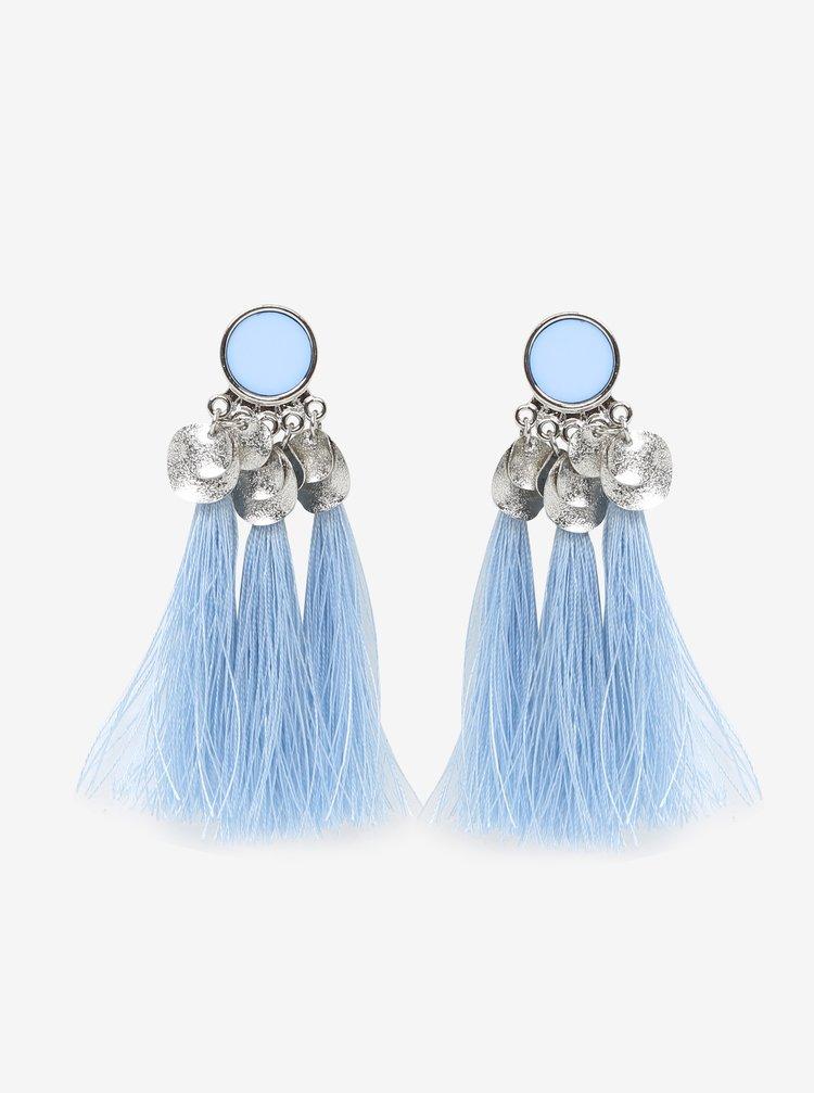 Cercei bleu cu detalii argintii si ciucuri - Pieces Jamila