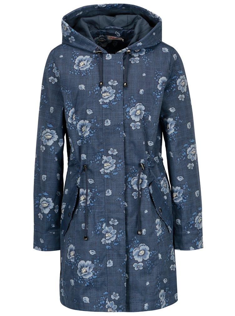 Tmavě modrá dámská květovaná parka s kapucí Cath Kidston
