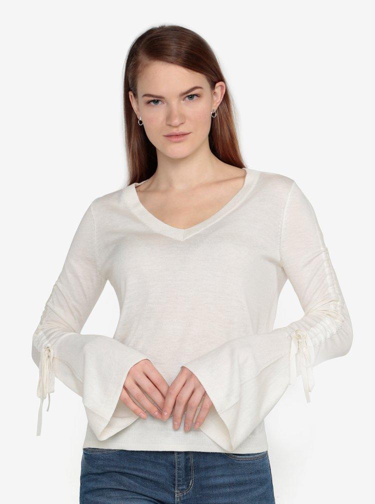Krémový lehký svetr s řasením na rukávech VERO MODA Adriana