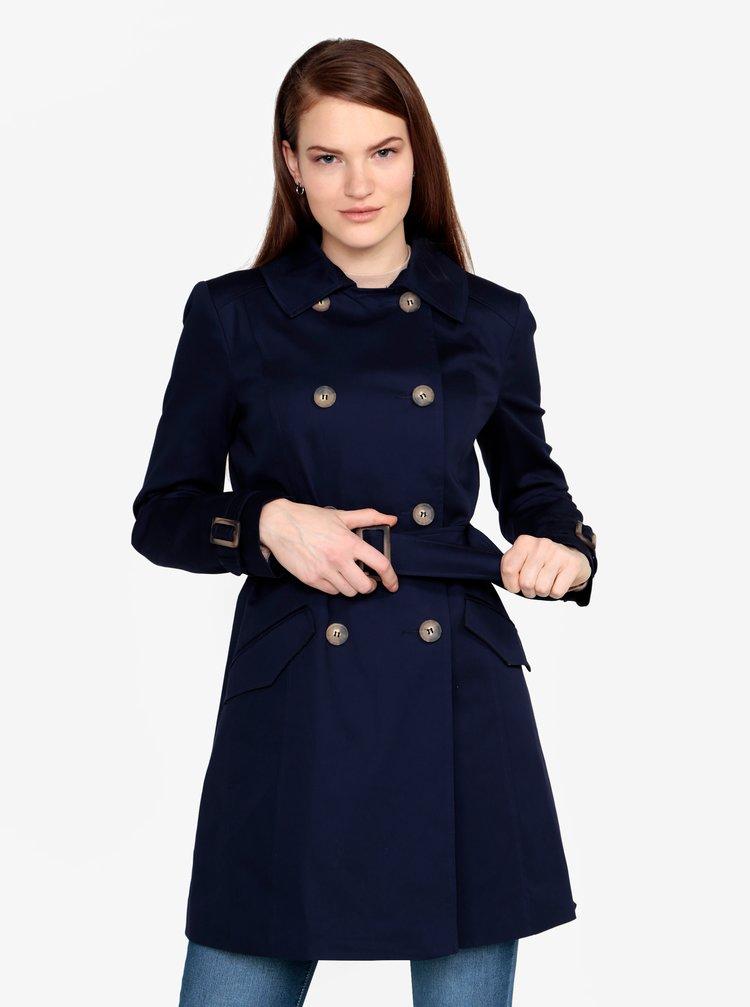 Tmavě modrý trenčkot s páskem Miss Selfridge