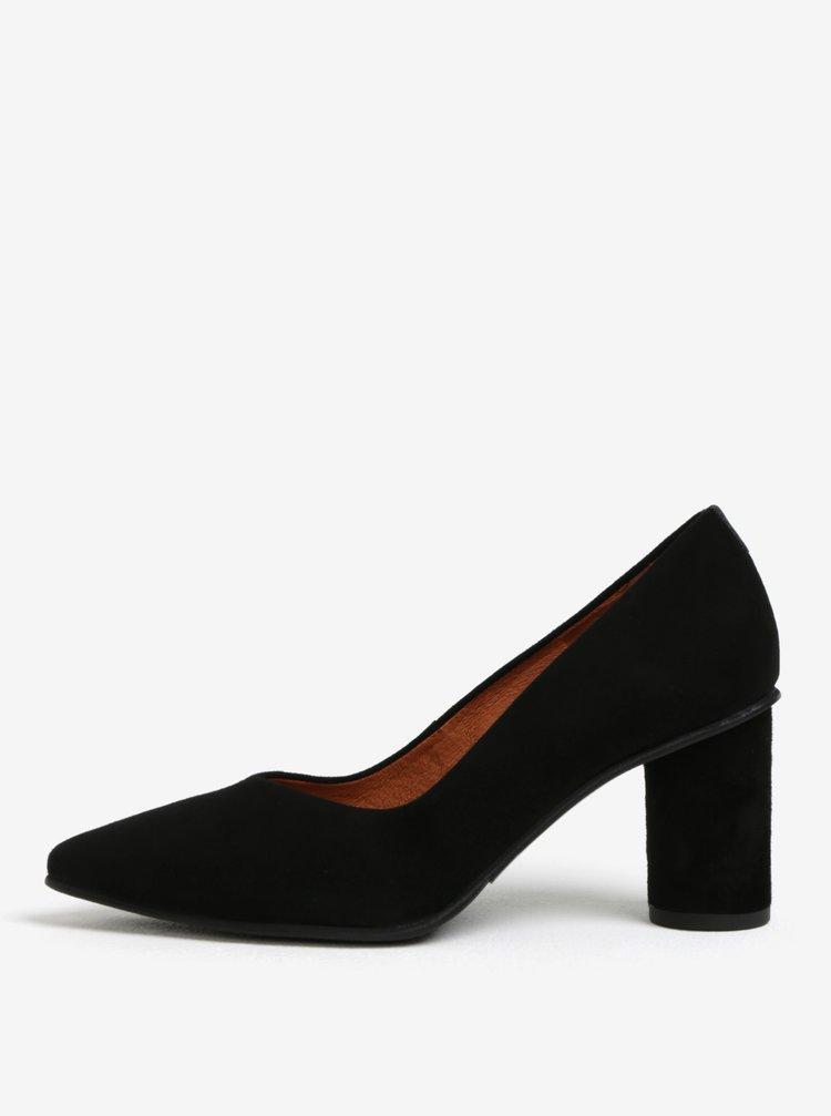Pantofi cu toc rotund negri din piele intoarsa Selected Femme Falex