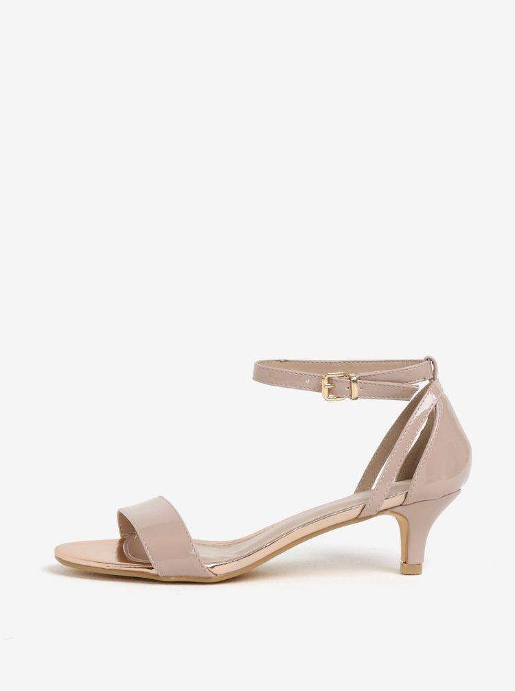 Sandale cu toc kitten roz pal si aspect lacuit Dorothy Perkins
