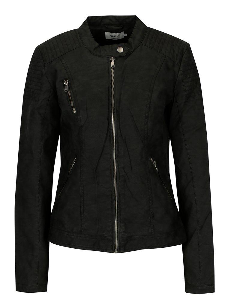 Černá koženková bunda ONLY Steady