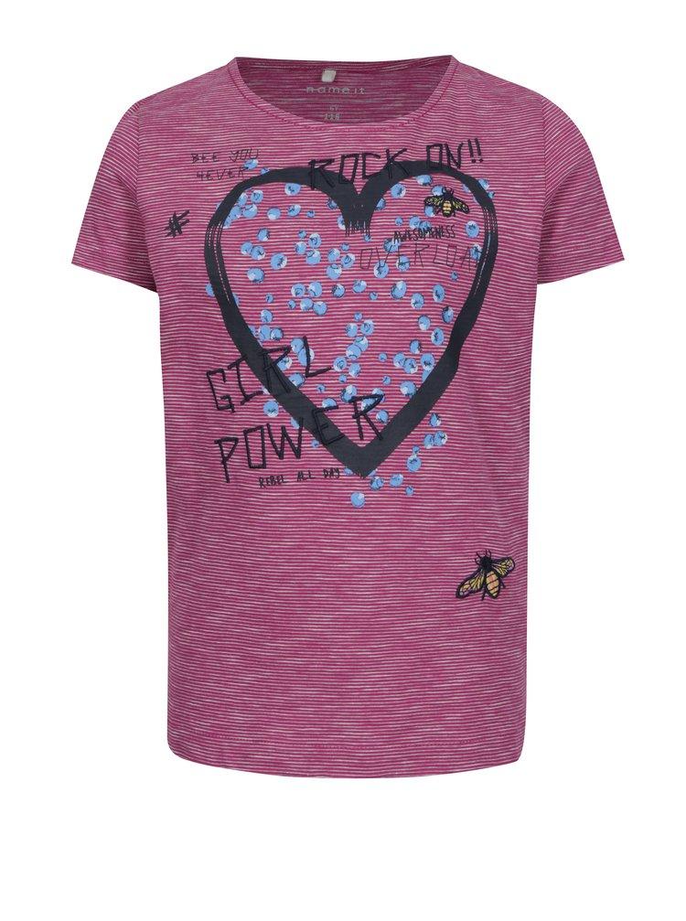 Tmavě růžové holčičí pruhované tričko s potiskem name it Hearty