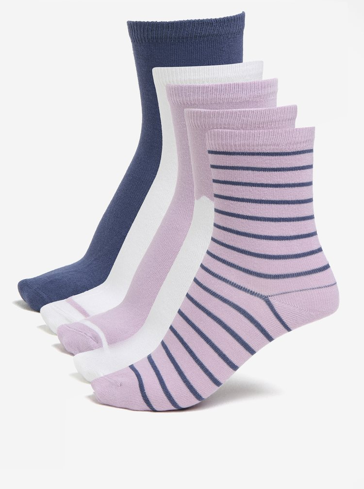 Sada pěti párů holčičích ponožek ve starorůžové barvě name it Vilde