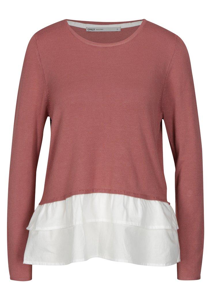 Starorůžový lehký svetr s všitou košilovou částí ONLY Gingham