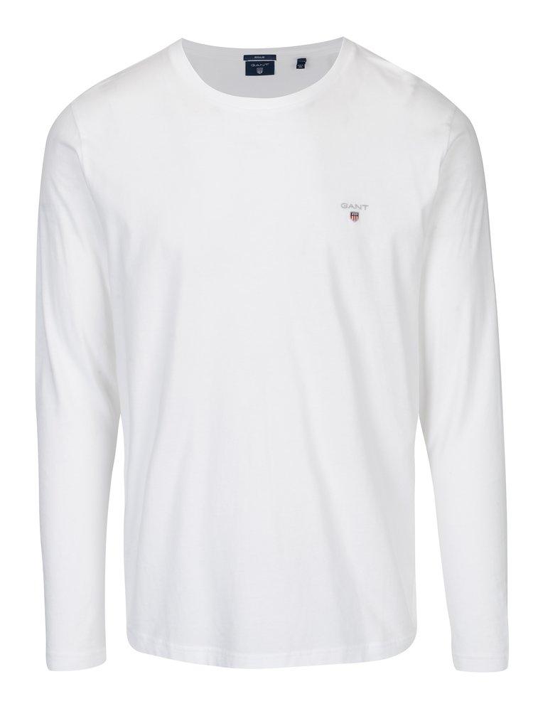 Bílé pánské regular tričko s dlouhým rukávem GANT