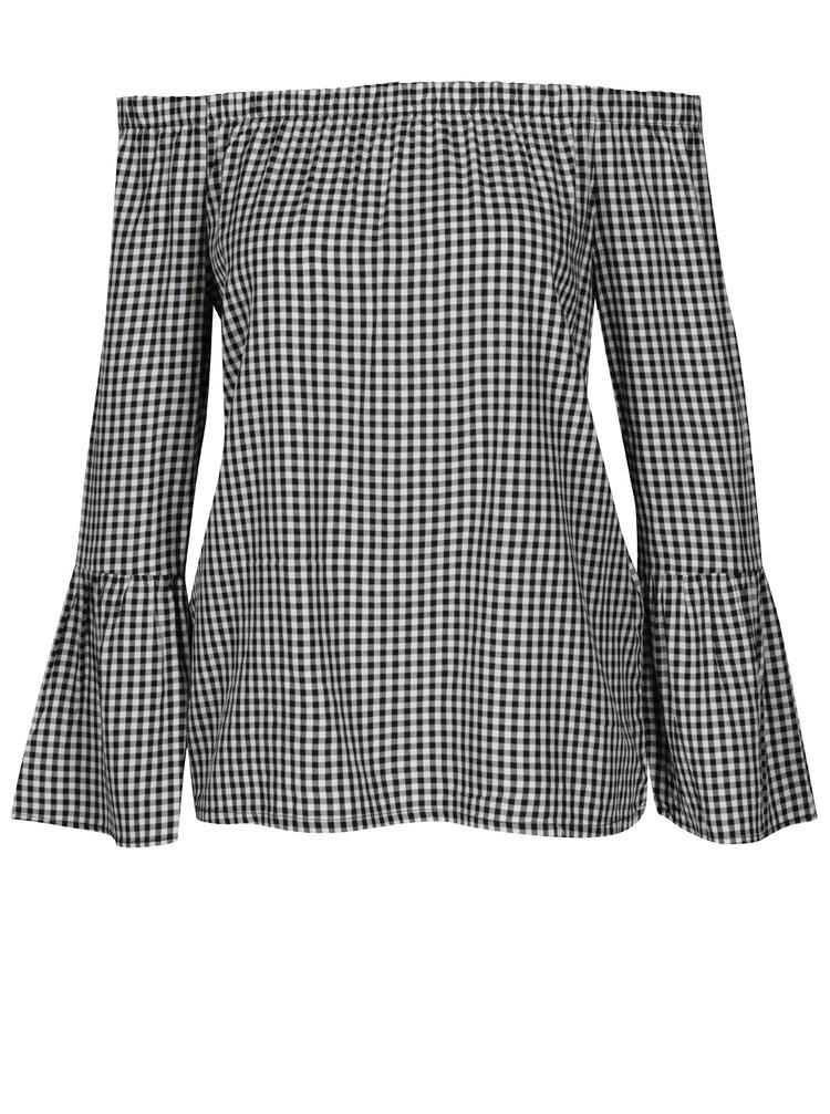 Bluza alb & negru cu model si decolteu amplu pe umeri - ONLY Sandy
