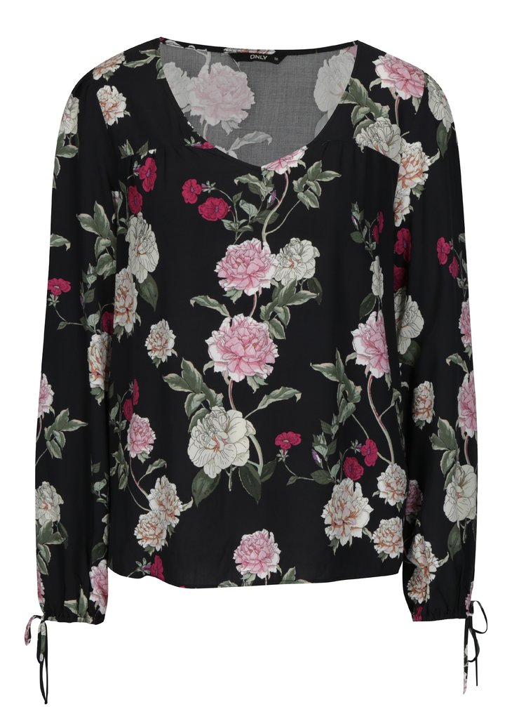 Bluza neagra cu print floral - ONLY Paris