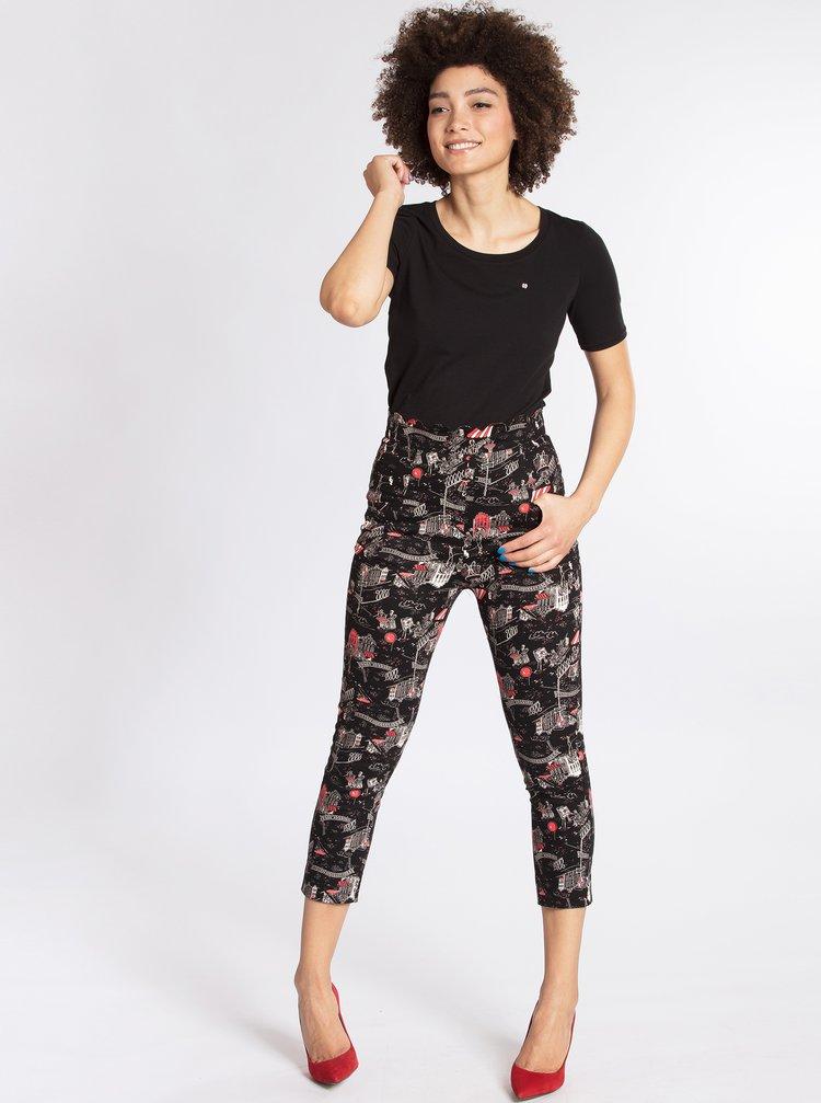 Černé vzorované zkrácené kalhoty Blutsgeschwister