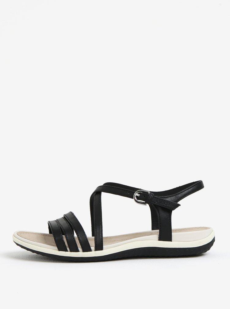 Černé dámské kožené sandály Geox Sand.Vega