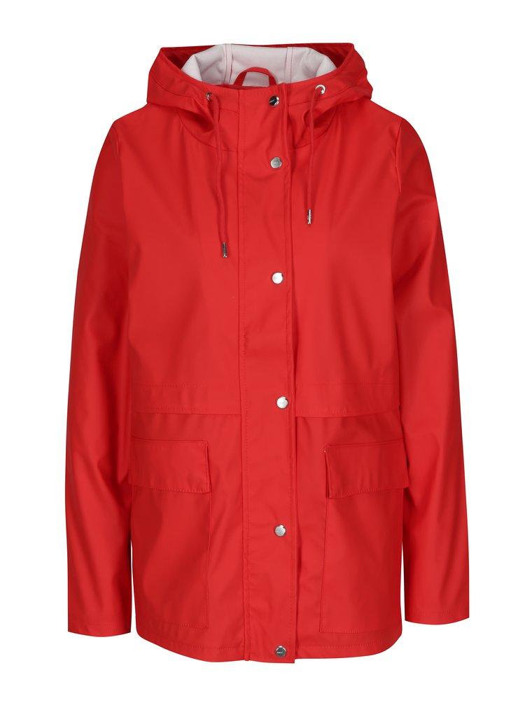 Červená vodovzdorná bunda s kapucňou ONLY