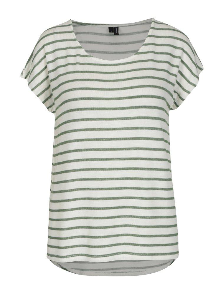 Zeleno-krémové pruhované basic tričko VERO MODA Wide