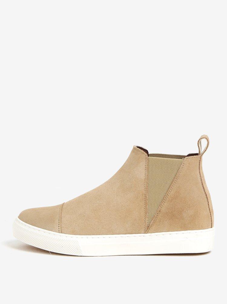 Béžové semišové chelsea boty na platformě OJJU