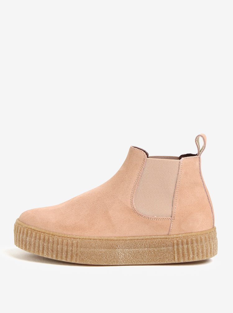Růžové semišové chelsea boty na platformě OJJU