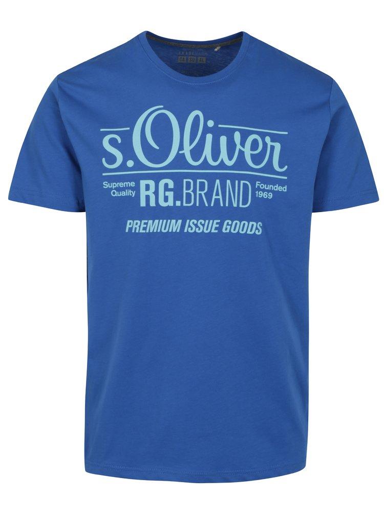 Tricou albastru regular fit cu print logo pentru barbati - s.Oliver