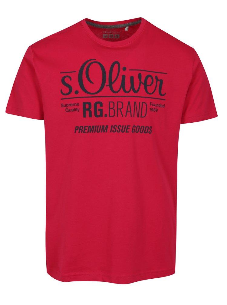 Tricou roz inchis regular fit cu print logo pentru barbati  - s.Oliver