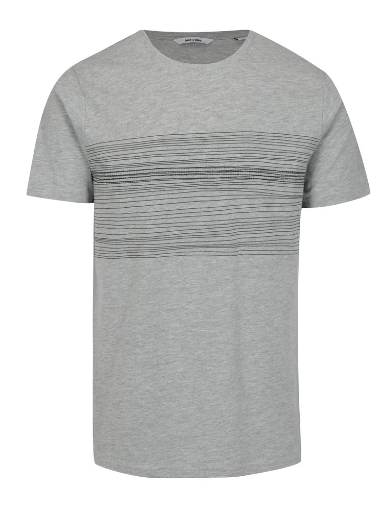 Šedé tričko s potiskem ONLY & SONS Sanford