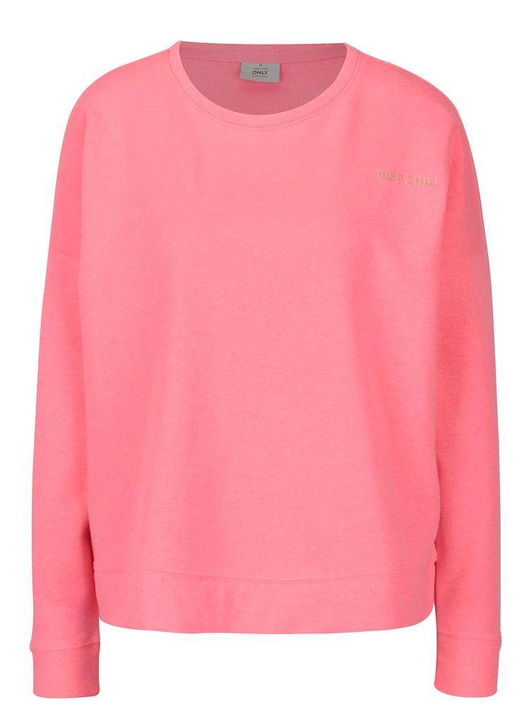 Neonově růžová mikina s výšivkou ONLY Janni