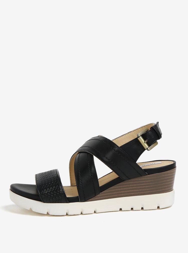 Černé kožené sandálky na klínku Geox Marykarmen