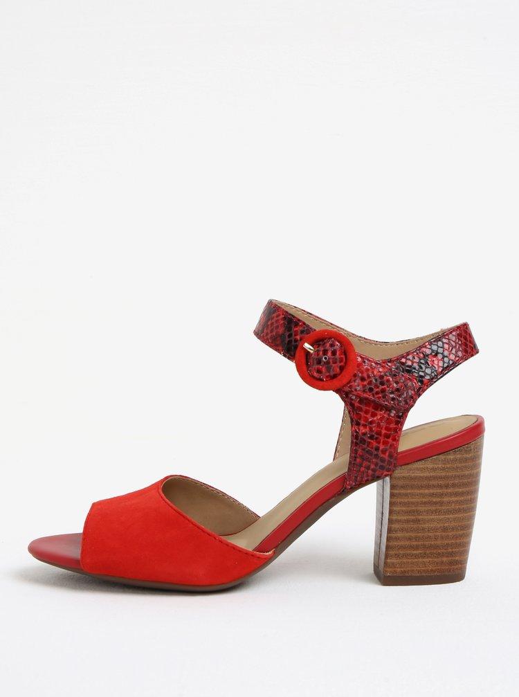 Červené semišové sandálky na podpatku Geox Eudora