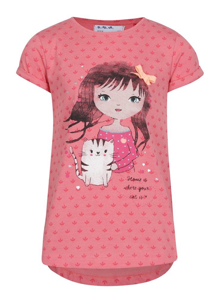 Růžové holčičí tričko s krátkým rukávem a potiskem 5.10.15.