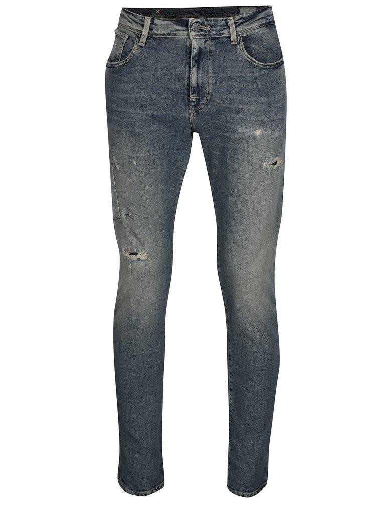 Modré slim džíny s potrhaným efektem Selected Homme Slim