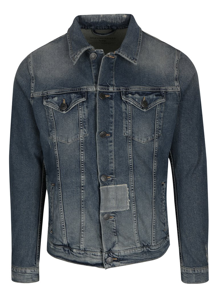 Jacheta albastra din denim cu aspect uzat si prespalat - Selected Homme Jeppe