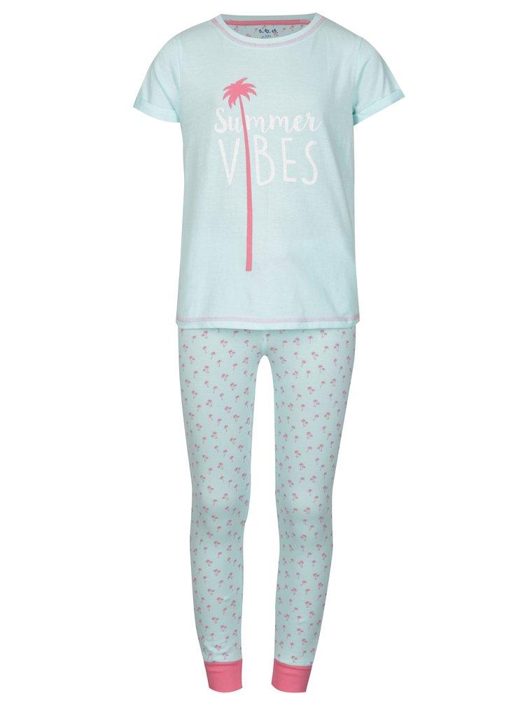 Růžovo-modré holčičí vzorované pyžamo 5.10.15.
