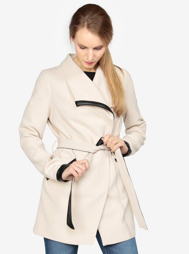 Krémový kabát s opaskom VERO MODA Kirsten