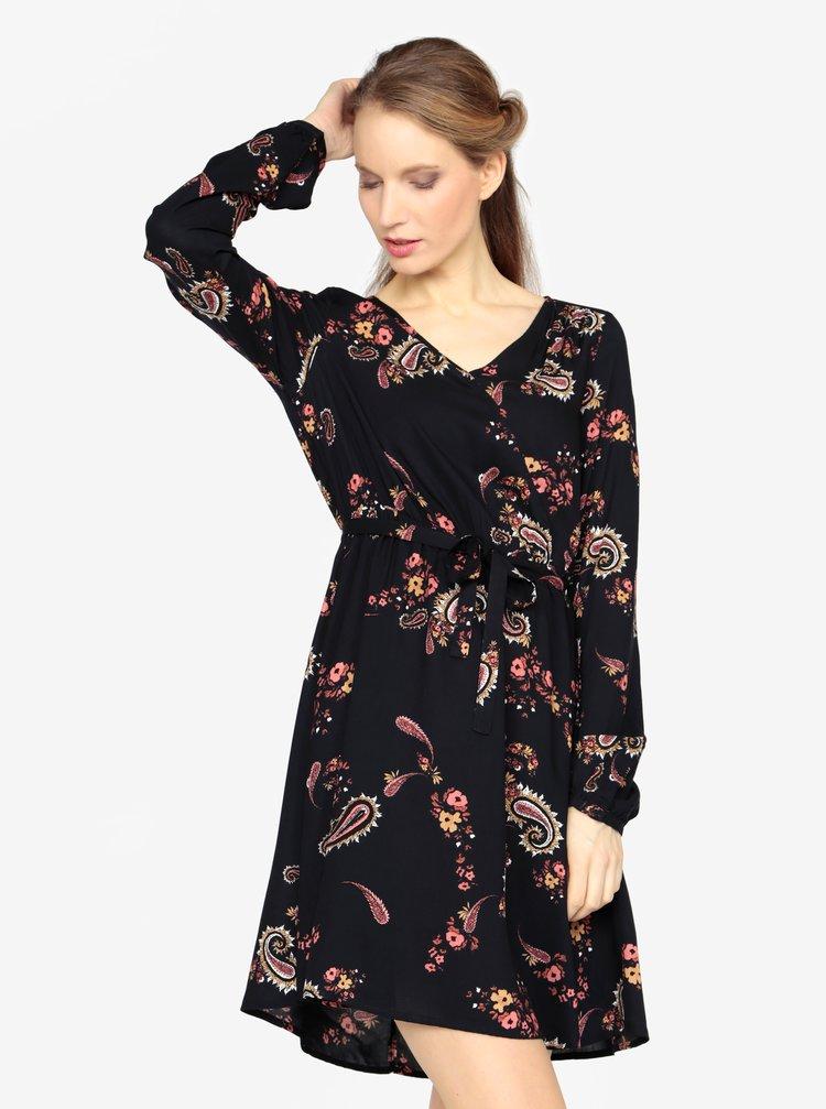 a1e2830605bf Tmavomodré vzorované šaty s dlhým rukávom a opaskom VERO MODA Simply ...